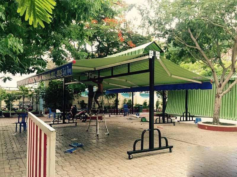 GIÁ RẺ NHẤT thi công mái hiên che bạt kéo xếp di động che nắng mưa tại Bình Phước