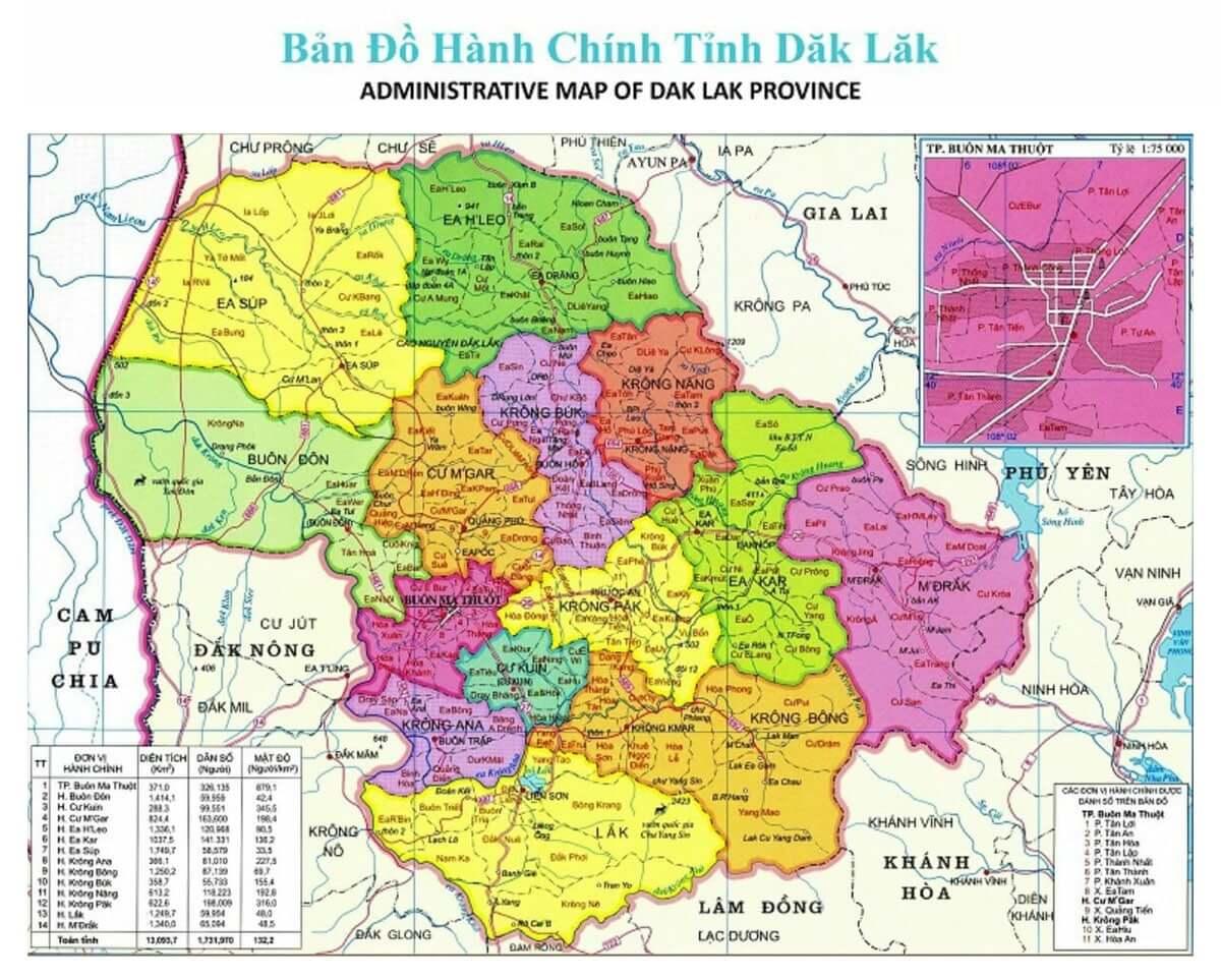 Bản đồ buôn ma thuột (BMT) Đắk Lắk